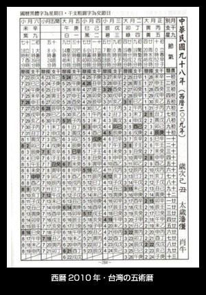 西暦2010年・台湾の五術暦