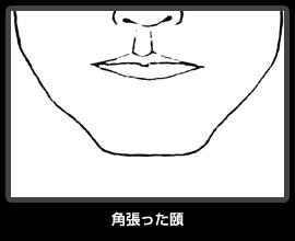 角張った顎