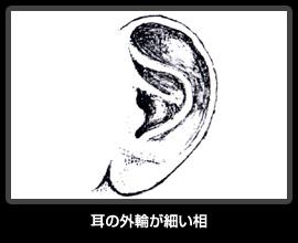 耳の外輪が細い相